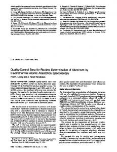 Quality-Control Sera for Routine Determination of ... - Clinical Chemistry