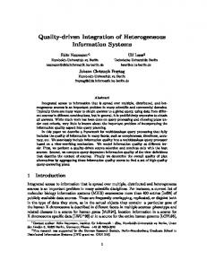 Quality-driven Integration of Heterogeneous Information Systems