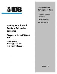 Quality, Equality and Equity in Colombian Education - IDB - Publications