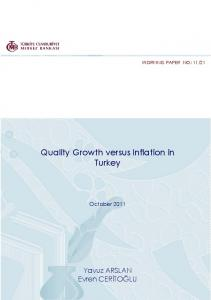 Quality Growth versus Inflation in Turkey - TCMB