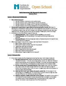 Quality Improvement 103: Measuring for Improvement Summary ...