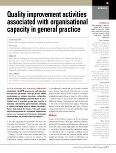 Quality improvement activities associated with organisational capacity ...