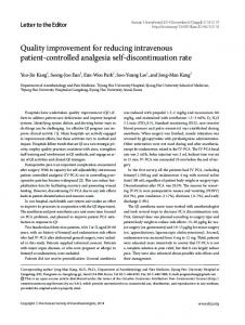 Quality improvement for reducing intravenous ... - KoreaMed Synapse