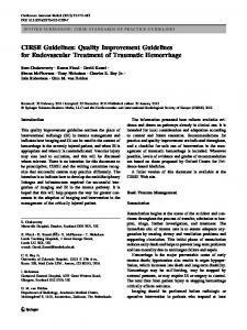 Quality Improvement Guidelines for Endovascular Treatment ... - CIRSE