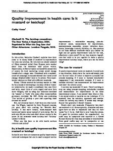 Quality improvement in health care: Is it mustard or ...