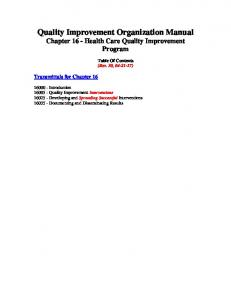 Quality Improvement Organization Manual Chapter 16 - Health Care ...