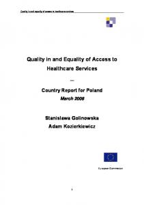 Quality in and Equality of Access to Healthcare Services - CiteSeerX