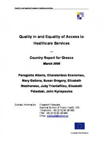 Quality in and Equality of Access to Healthcare Services - European ...