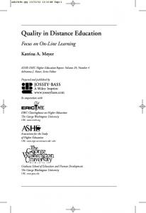 Quality in Distance Education