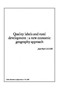 Quality labels and rural development : a new ... - AgEcon Search