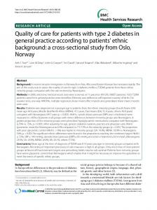 Quality of care for patients with type 2 diabetes in