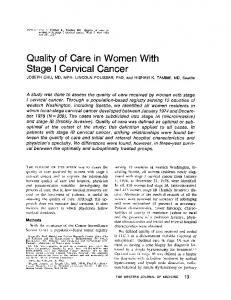 Quality of Care in Women With Stage I Cervical Cancer