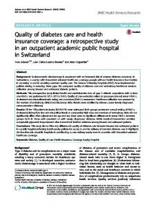 Quality of diabetes care and health insurance coverage