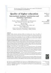 Quality of higher education International students ...