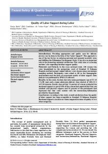 Quality of Labor Support during Labor - Journal of Patient Safety ...