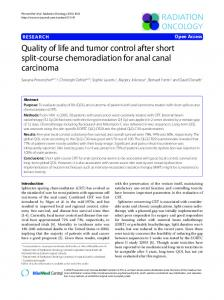 Quality of life and tumor control after short split-course ... - Springer Link