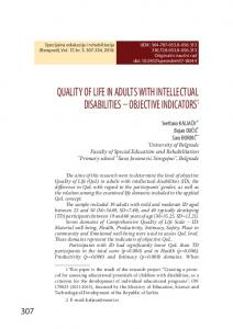 quality of life in adults with intellectual disabilities