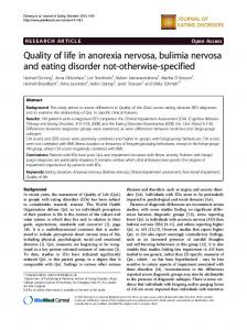 Quality of life in anorexia nervosa, bulimia nervosa and eating ...