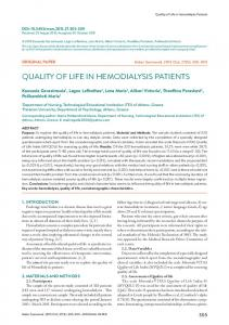 quality of life in hemodialysis patients - eJManager
