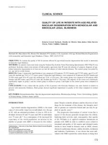 QUALITY OF LIFE IN PATIENTS WITH AGE-RELATED MACULAR ...