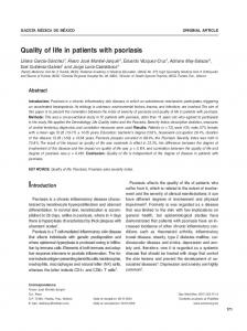 Quality of life in patients with psoriasis