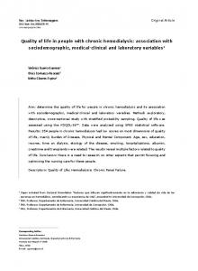 Quality of life in people with chronic hemodialysis ... - Semantic Scholar