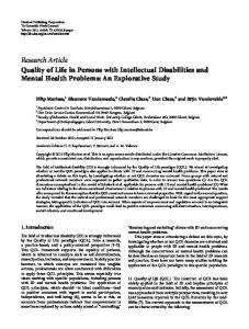 Quality of Life in Persons with Intellectual Disabilities and Mental ...