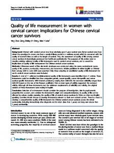 Quality of life measurement in women with cervical cancer - CiteSeerX