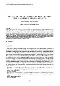 quality of life of the families with children with disability in regions of ...