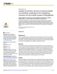 Quality of nutrition services in primary health care facilities - PLOS