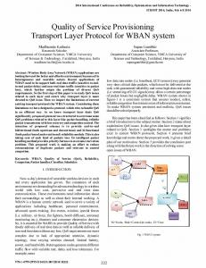 Quality of Service Provisioning Transport Layer Protocol ... - IEEE Xplore