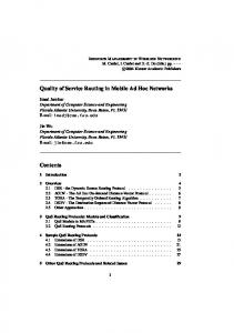 Quality of Service Routing in Mobile Ad Hoc Networks Contents