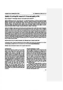Quality of working life research: II. Personal quality of life