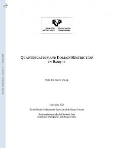 Quantification and Domain Restriction in Basque