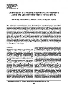 Quantification of Circulating Plasma DNA in Friedreich's Ataxia and ...