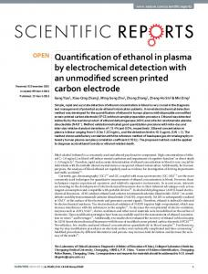 Quantification of ethanol in plasma by