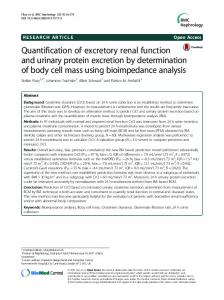 Quantification of excretory renal function and urinary protein excretion ...
