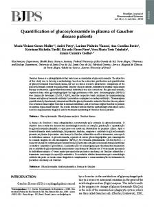 Quantification of glucosylceramide in plasma of