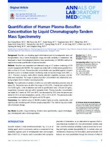 Quantification of Human Plasma-Busulfan