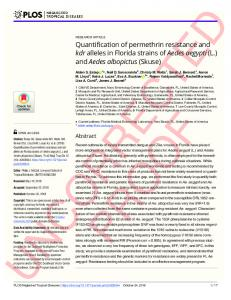 Quantification of permethrin resistance and kdr alleles in ... - PLOS