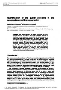 Quantification of the quality problems in the construction machinery ...