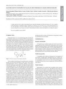 Quantification of tryptophan in plasma by high performance liquid ...