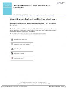 Quantification of valproic acid in dried blood spots