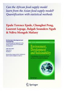 Quantification with statistical methods Epule Terence - UQAM