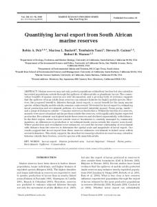 Quantifying larval export from South African marine reserves