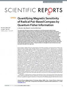 Quantifying Magnetic Sensitivity of Radical Pair Based Compass by ...