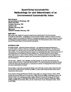 Quantifying Sustainability: Methodology for and ...