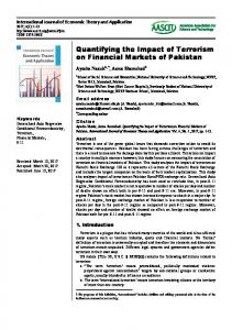 Quantifying the Impact of Terrorism on Financial Markets of Pakistan