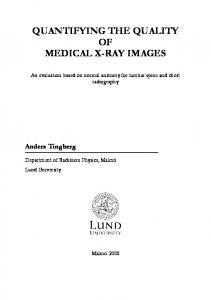 quantifying the quality of medical x-ray images