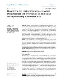 Quantifying the relationship between patient ... - Semantic Scholar